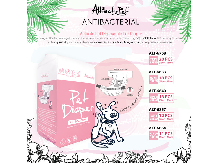 ALTIMATE PET<br>Antibacterial Disposable<br>Pet Diapers<br>⭐️ 3 FOR $29.90 ⭐️