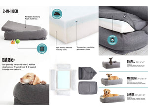 BARK<br>The Essential Pillow Bed/Sheets<br>Orthopaedic Memory Foam Dogs/Cats