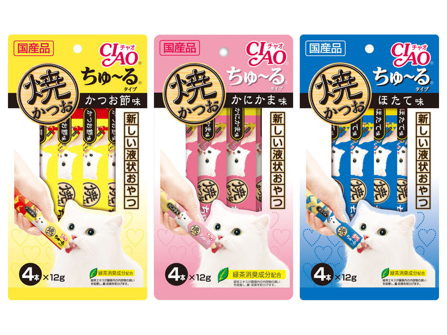 CIAO<br>Grain Free Churu 4-Pack<br>Grilled Skipjack Tuna Wet Cat Treats