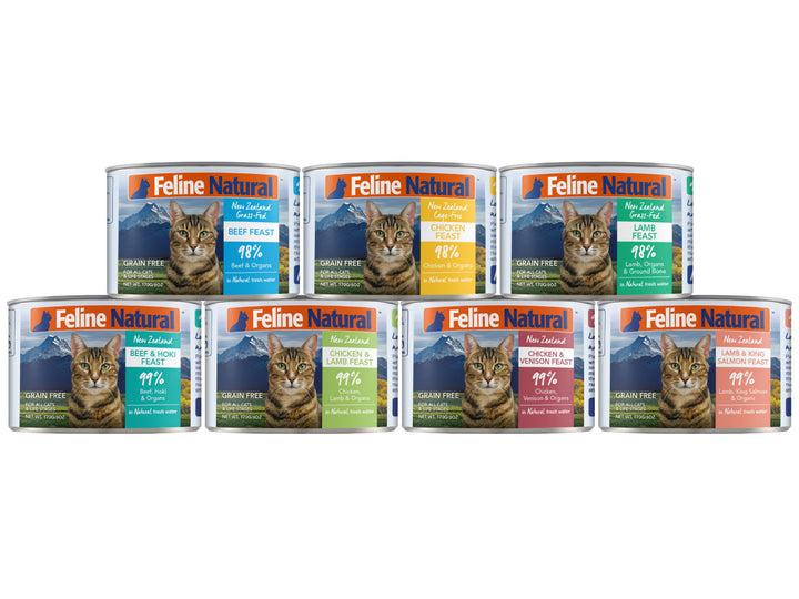 30% OFF ⏰ FELINE NATURAL<br>Grain Free Canned<br>Beef/Chicken/Lamb/Salmon/Hoki/Venison<br>Wet Cat Food