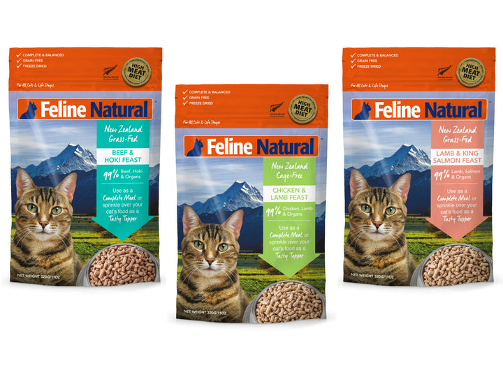 20% + 13% ⏰ FELINE NATURAL<br>Grain Free Freeze Dried<br>Beef+Hoki/Chicken+Lamb/Lamb+Salmon<br>Cat Food/Toppers/Treats