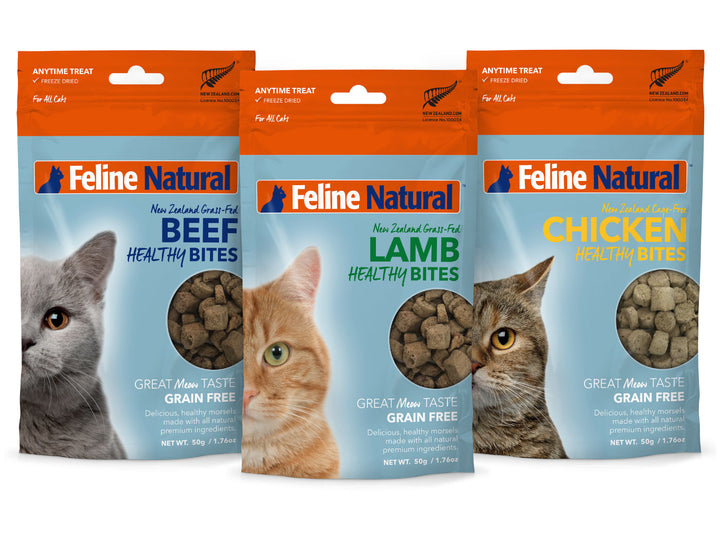 20% OFF ⏰ FELINE NATURAL<br>Single Protein Healthy Bites<br>Beef/Chicken/Lamb<br>Freeze Dried Cat Treats