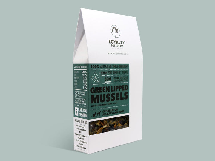 LOYALTY PET TREATS<br>Dehydrated Green Lipped Mussels<br>Dog/Cat Treats