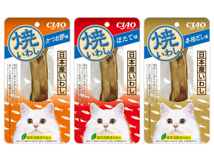 CIAO<br>Grain Free Grilled Fillet<br>Chicken/Iwashi/Tuna Cat Treats