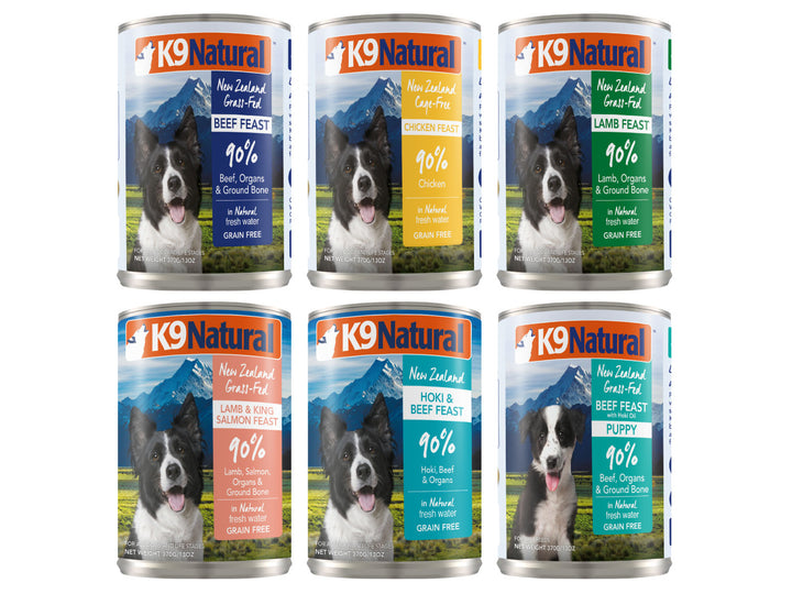 22% + 13% ⏰ K9 NATURAL<br>Grain Free Canned<br>Beef/Chicken/Lamb/Salmon/Hoki<br>Wet Dog Food