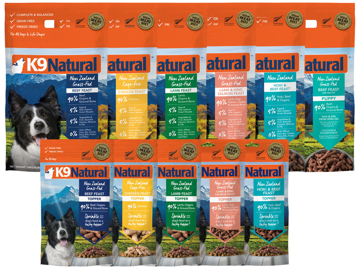 30% OFF ⏰ K9 NATURAL<br>Grain Free Freeze Dried<br>Beef/Chicken/Lamb/Salmon/Hoki<br>Dog Food/Toppers/Treats