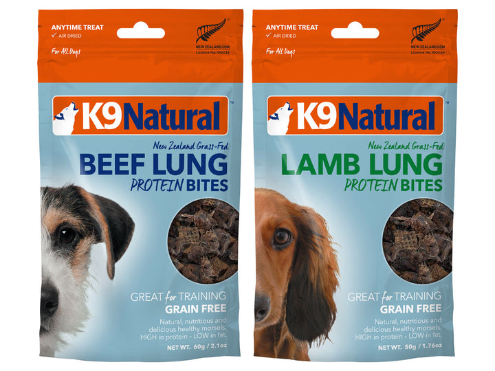 20% + 13% ⏰ K9 NATURAL<br>Single Protein Bites<br>Beef/Lamb Lung<br>Air Dried Dog Treats