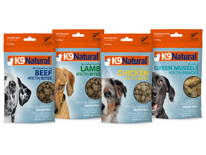 20% + 13% ⏰ K9 NATURAL<br>Single Protein Healthy Bites<br>Beef/Chicken/Lamb/Green Mussels<br>Freeze Dried Dog Treats