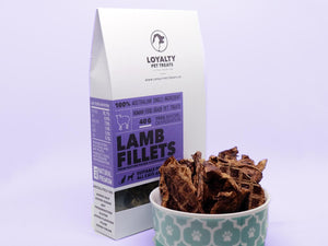 LOYALTY PET TREATS<br>Dehydrated Lamb Fillets<br>Dog/Cat Treats