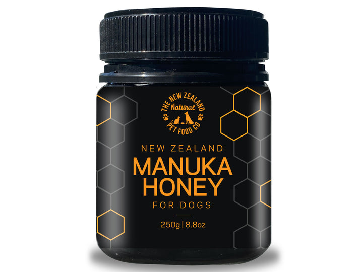 THE NZ NATURAL PET FOOD CO.<br>100% New Zealand Manuka Honey<br>Dog Supplement