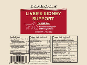 DR. MERCOLA<br>Liver & Kidney Support<br>Dog/Cat Supplement