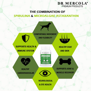 DR. MERCOLA<br>SpiruGreen<br>Joint, Skin, Heart, Eye & Immunity<br>Dog/Cat Supplement