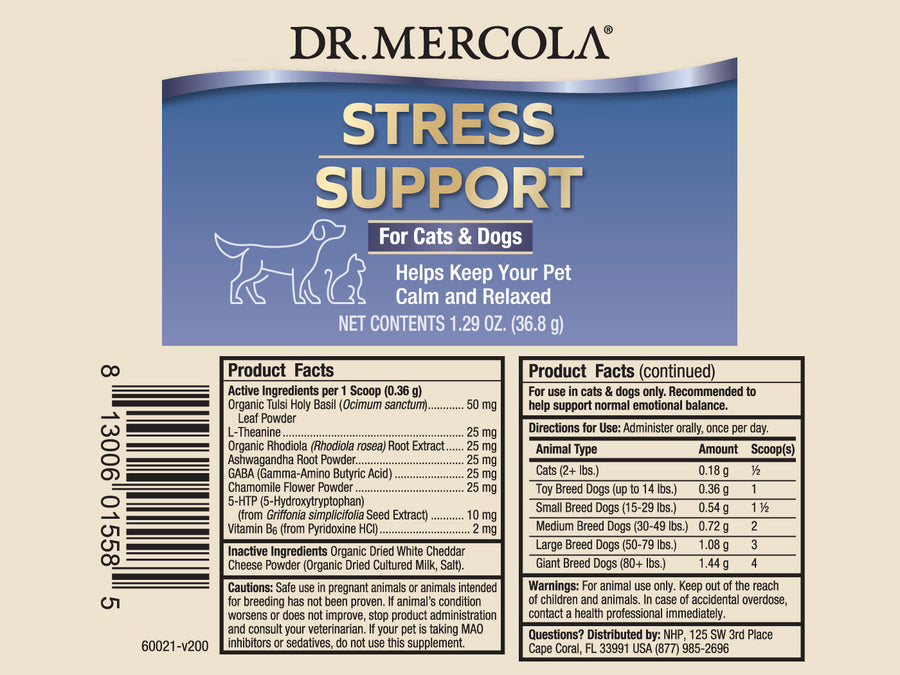 DR. MERCOLA<br>Stress Support<br>Calming Stress & Anxiety<br>Dog/Cat Supplement
