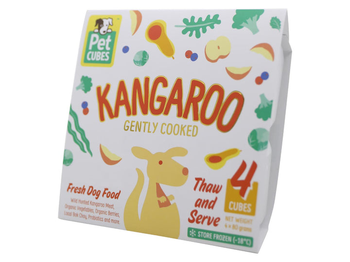 15% + FREE BROTH 🤩 PET CUBES<br>Gently Cooked Kangaroo<br>Frozen Fresh Human Grade Dog Food