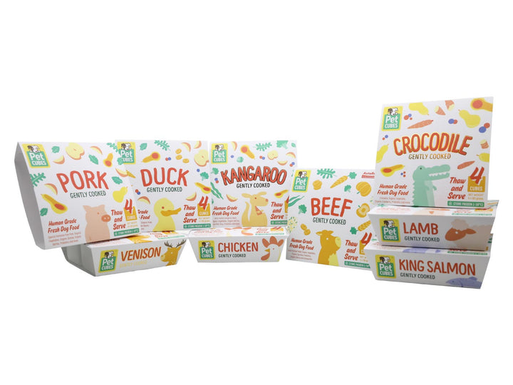 20-28% OFF 🤩 PET CUBES<br>Gently Cooked Trial Packs<br>Frozen Fresh Human Grade Dog Food