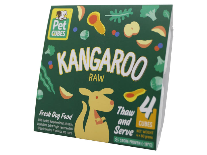 12% + FREE BROTH 🤩 PET CUBES<br>Raw Kangaroo<br>Frozen Fresh Human Grade Dog Food