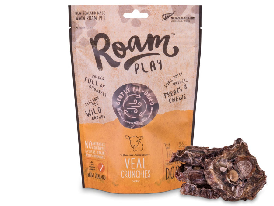 20% OFF ⏰ ROAM Play<br>100% Air Dried Veal Neck Bone<br>Crunchies Dog Chew Treats