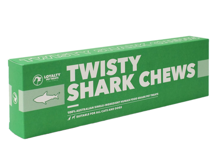 LOYALTY PET TREATS<br>Dehydrated Twisty Shark Skin Chews<br>Dog/Cat Treats
