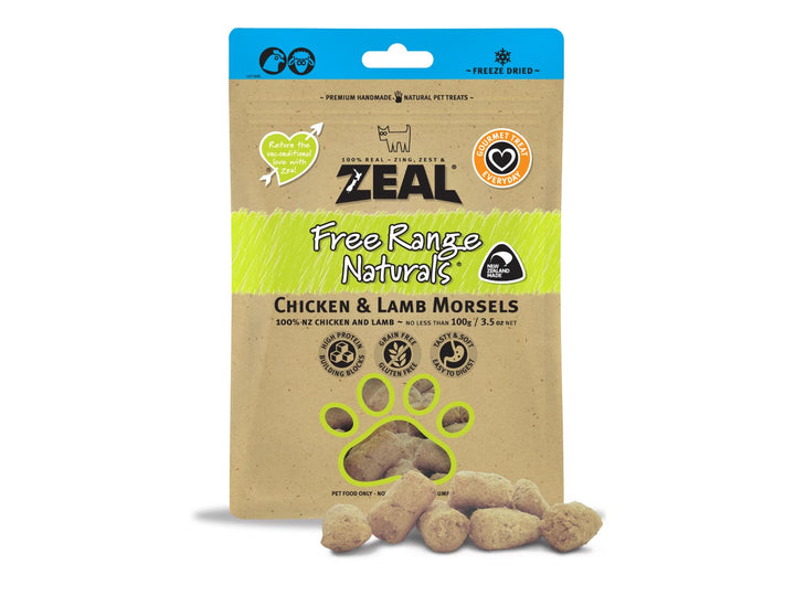 ⭐️ BUY 2 FREE 1 ⭐️<br>ZEAL<br>100% Freeze Dried Chicken & Lamb<br>Morsels Dog/Cat Treats