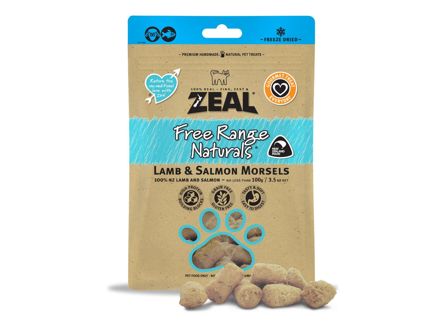 ⭐️ BUY 2 FREE 1 ⭐️<br>ZEAL<br>100% Freeze Dried Lamb & Salmon<br>Morsels Dog/Cat Treats