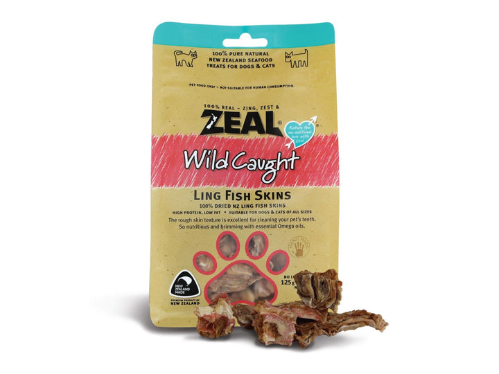 ⭐️ BUY 2 FREE 1 ⭐️<br>ZEAL<br>100% Air Dried Ling Fish Skins<br>Dog/Cat Chew Treats