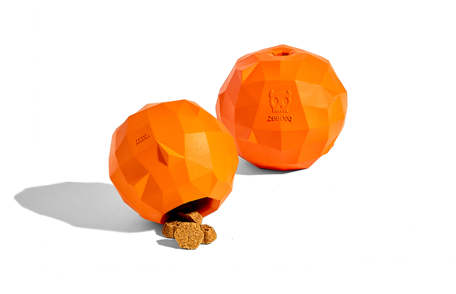 10% OFF ⏰ ZEE.DOG<br>Super Orange Treat Dispenser<br>Rubber Dog Chew Toy