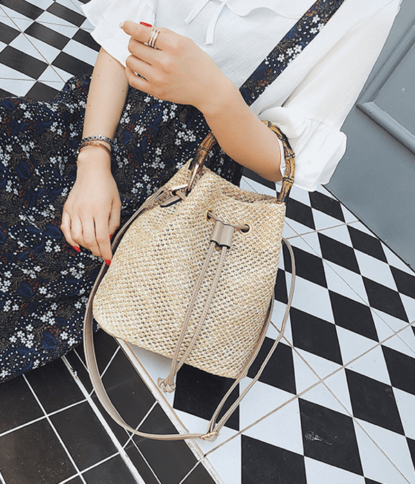 Pacific Straw Bucket Bag