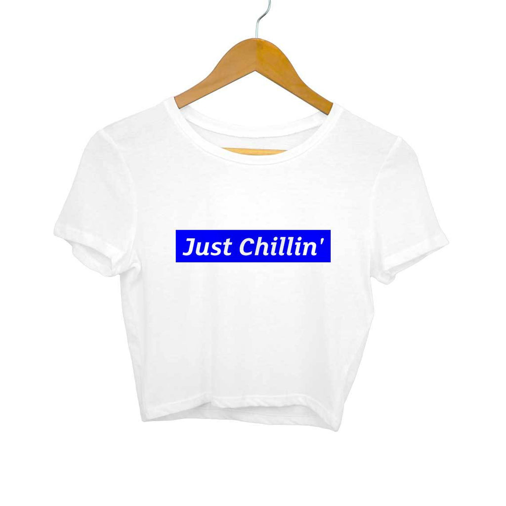 Just Chillin- White Crop Top/T-shirt