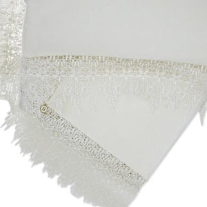 Limited Edition Wrap & Pillowcase Set, Cream with wide guipure lace