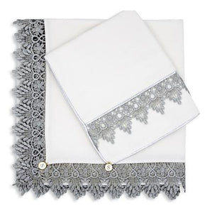 Limited Edition, White Silk with Silver Lace Wrap & Pillowcase Set