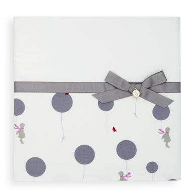 2pc Cot Sheet Set, Grey Balloons with Wide Grey Grosgrain trim