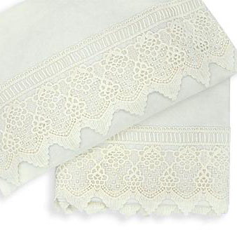 2pc Cot Sheet Set, Ivory Lace Trim