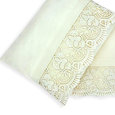 2pc Cot Sheet Set, Natural Lace Trim