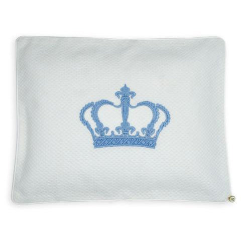 'Crown Him' Embroidered Pillowcase Blue Crown on White
