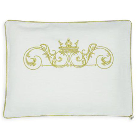 'Crown Carriage' 2pc Embroidered Bassinet Sheet Set Gold on Ivory
