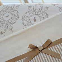 Load image into Gallery viewer, 2pc Cot Sheet Set, Taupe Stripe Band, Wide Taupe Grosgrain