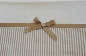 2pc Cot Sheet Set, Taupe Stripe Band, Wide Taupe Grosgrain