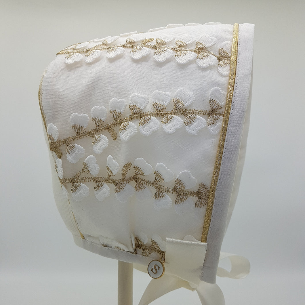 Exclusive Ivory Bonnet with Gold Vine