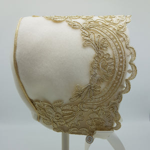 Exclusive Cream Wool Bonnet with Gold Lace Trim