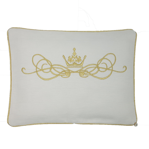 'My Oh My' Golden Crown Embroidered Pillowcase - Gold on Ivory