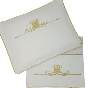 'On the Throne' 2pc Bassinet Sheet Set, Gold on Ivory