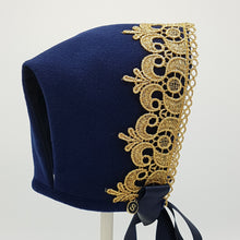 Load image into Gallery viewer, Exclusive Navy Wool Bonnet with gold lace trim