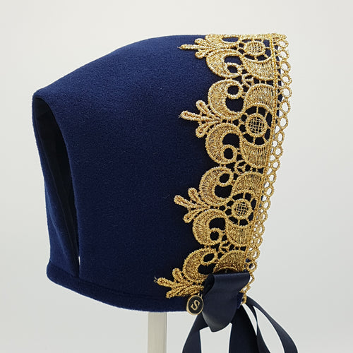 Exclusive Navy Wool Bonnet with gold lace trim
