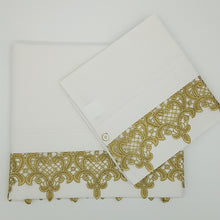Load image into Gallery viewer, 2pc Bassinet/Pram Sheet Set, Ivory with Gold Fleur de Lis Lace Trim