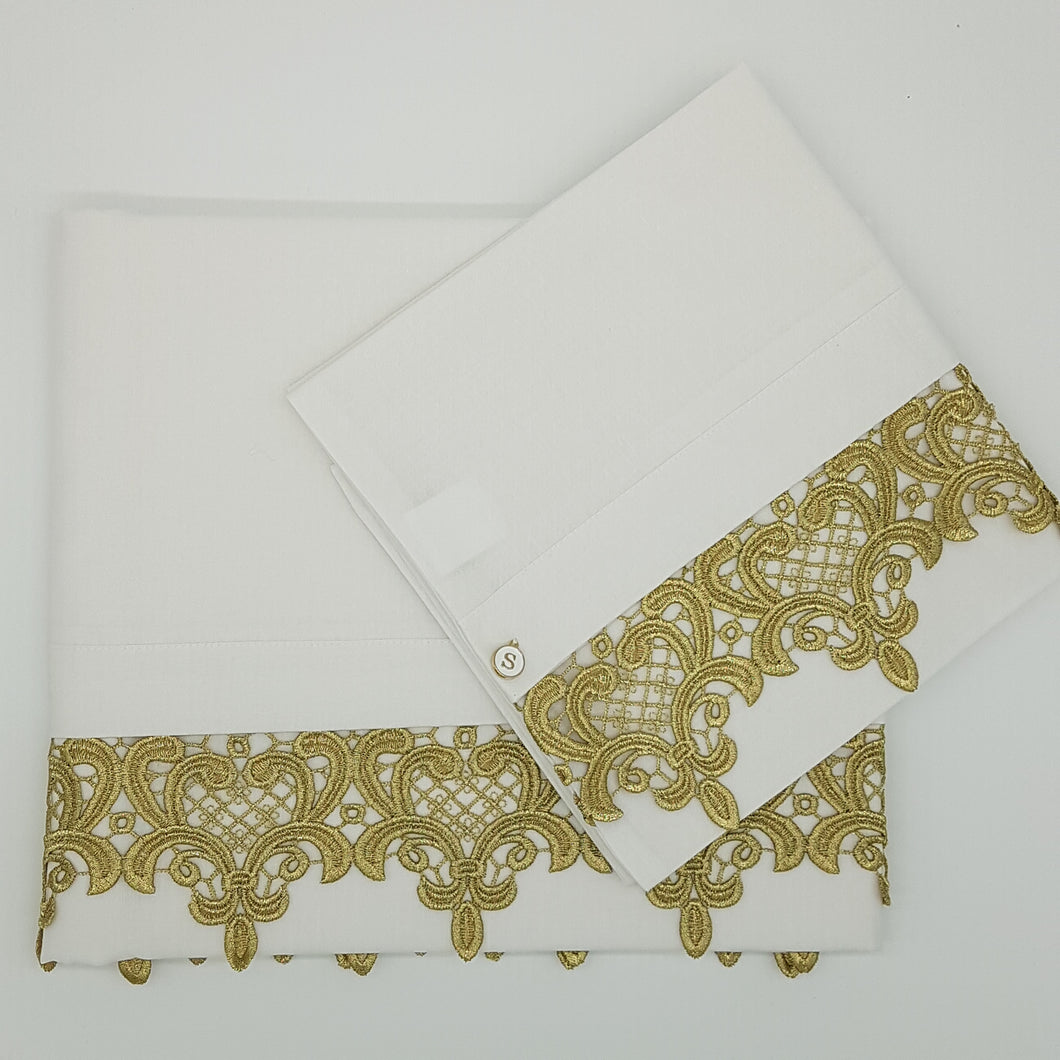 2pc Bassinet/Pram Sheet Set, Ivory with Gold Fleur de Lis Lace Trim