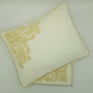 Limited Edition Cream Velvet Wrap & Pillowcase Set, Embroidered
