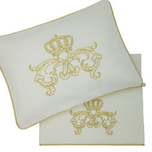 Load image into Gallery viewer, 'Crown Royale' 2pc Bassinet Sheet Set, Embroidered Gold on Ivory