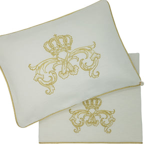 'Crown Royale' 2pc Bassinet Sheet Set, Embroidered Gold on Ivory