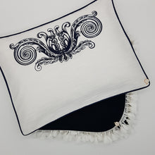 Load image into Gallery viewer, 'Elegante in Navy' Embroidered Pillowcase, Navy on white