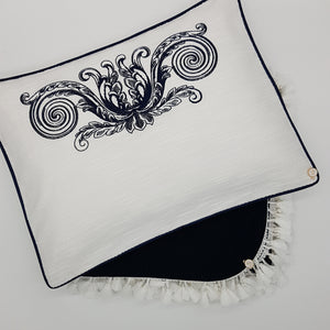 'Elegante in Navy' Embroidered Pillowcase, Navy on white